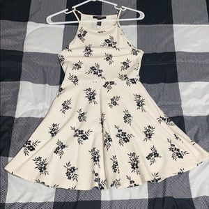 White with black flowers dress
